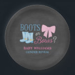 """Boots or Bows Gender Reveal Party Baby Shower Paper Plate<br><div class=""""desc"""">Cute boots and bows gender reveal party paper plates. A country gender reveal theme featuring a girly pink bow and blue cowboy boots on a chalkboard background.</div>"""