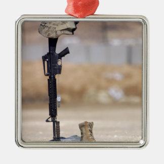Boots, rifle, dog tags, and protective helmet christmas ornament