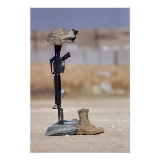 Boots, rifle, dog tags, and protective helmet poster