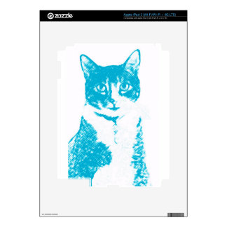 Boots the Cat in Blue Vinyl Device Protection Skin iPad 3 Decals