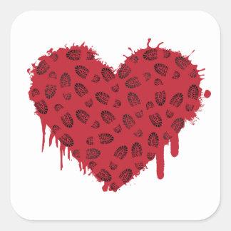 bootstomp heart splats square sticker