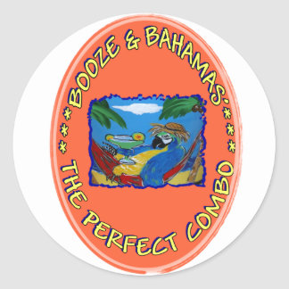 Booze and Bahamas Classic Round Sticker