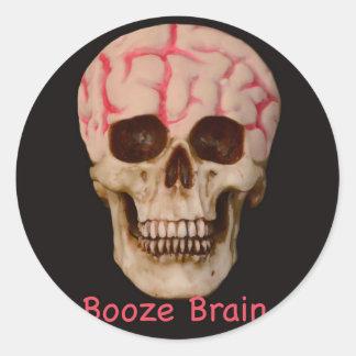 Booze Brain Classic Round Sticker