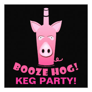 BOOZE HOG COCKTAIL KEG PARTY INVITATION