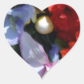 Boquet colorido pegatina en forma de corazón