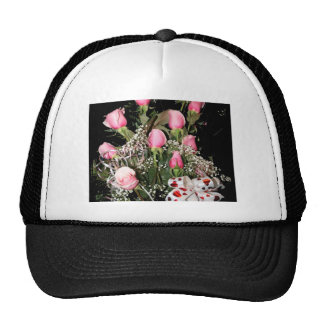 Boquet of pink roses red heart ribbon green stems trucker hat