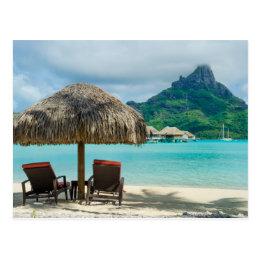 Bora Bora beach chairs postcard
