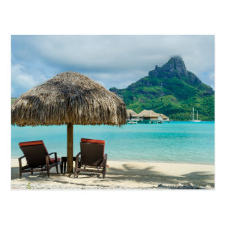 Bora Bora beach chairs postcard