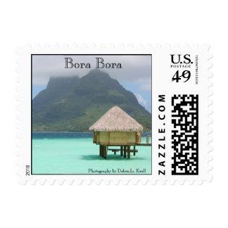 Bora Bora Bungalow Square Stamp
