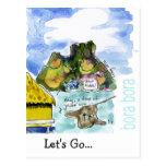 Bora Bora Cute Cartoon Watercolor Postcard