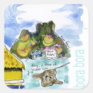 Bora Bora Cute Cartoon Watercolor Square Sticker