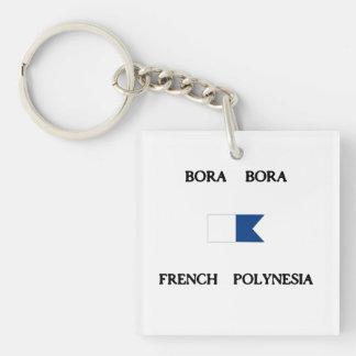 Bora Bora French Polynesia Alpha Dive Flag Double-Sided Square Acrylic Keychain
