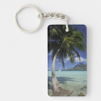 Bora Bora, French Polynesia Mt. Otemanu seen Double-Sided Rectangular Acrylic Keychain
