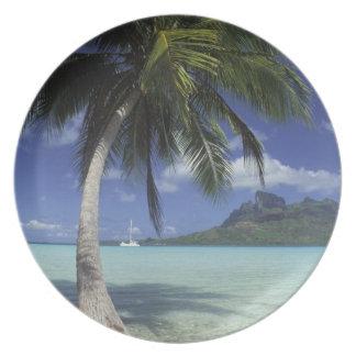 Bora Bora, French Polynesia Mt. Otemanu seen Party Plate