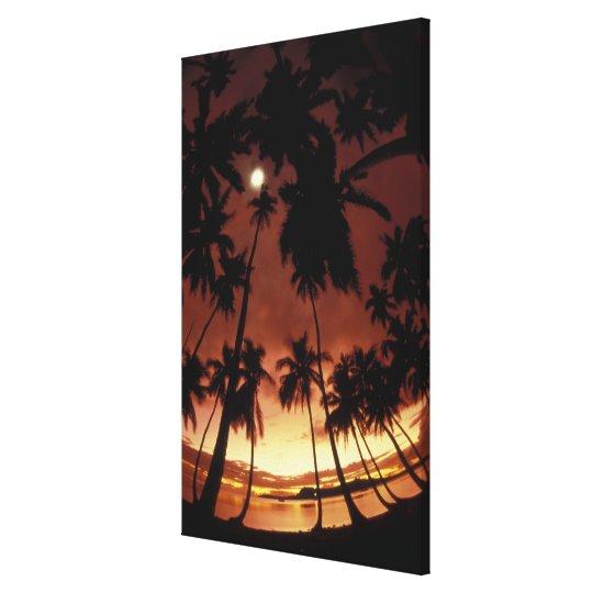 Bora Bora, French Polynesia Sunset shot through Canvas Print
