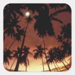 Bora Bora, French Polynesia Sunset shot through Square Sticker