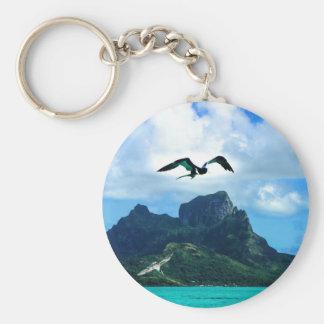 Bora Bora French Polynesia Tropical Bird Sky Basic Round Button Keychain