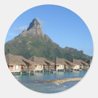 Bora Bora Huts Classic Round Sticker