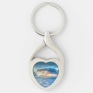 Bora Bora Ocean View Silver-Colored Heart-Shaped Metal Keychain