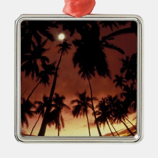 Bora Bora, puesta del sol de Polinesia francesa Adorno Navideño Cuadrado De Metal