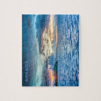 Bora Bora Sunset across the ocean Jigsaw Puzzle