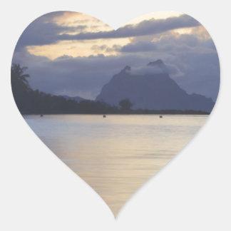 Bora Bora Sunset.JPG Pegatina En Forma De Corazón
