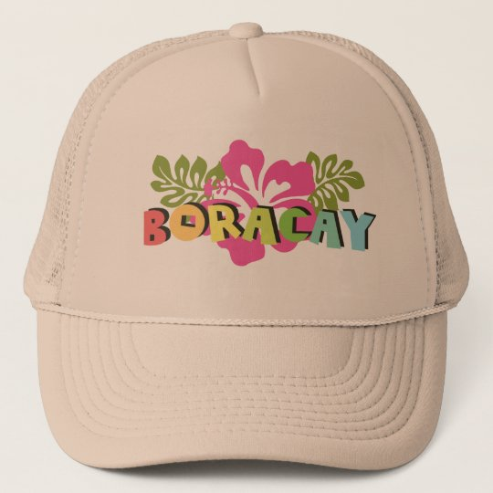 b26908d3483 Boracay Philippines on Tropical Hibiscus Flowers Trucker Hat ...