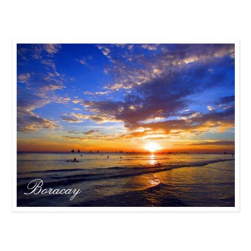 boracay sunset blue postcard
