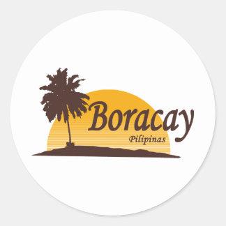 Boracay white classic round sticker