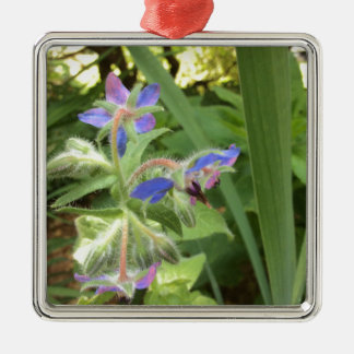 BORAGE Blue Pink Green --- Metal Ornament
