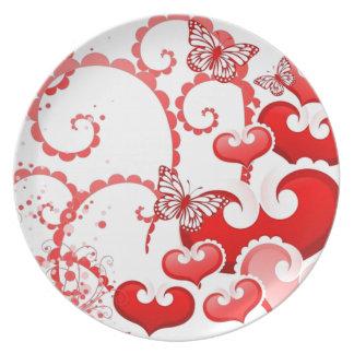 borboletas de los corações e de COM del imagem Platos Para Fiestas