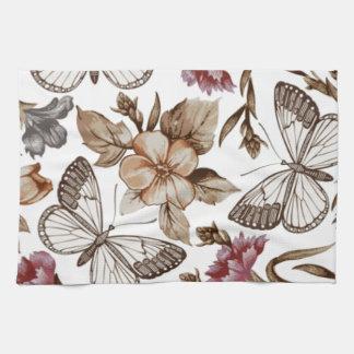 borboletas e Flores de COM del padrão Toallas De Mano