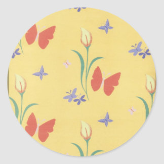 Borboletas em movimento classic round sticker