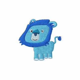 Bordado azul del león del dibujo animado lindo camiseta polo