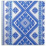 Bordado azul ucraniano de 4 del paquete servilleta
