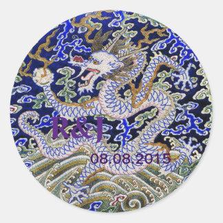 Bordado chino del dragón pegatina redonda