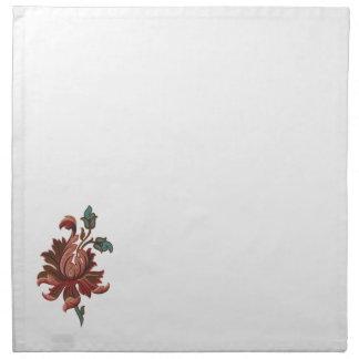 Bordado como la flor color de rosa servilleta imprimida