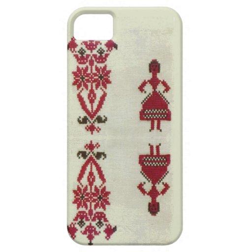 Bordado cruzado rumano de la puntada del vintage iPhone 5 coberturas