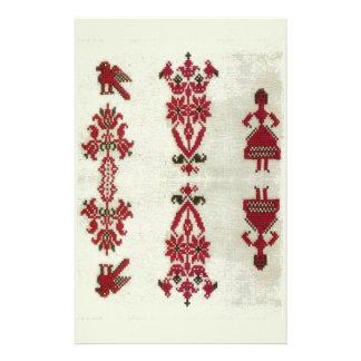 Bordado cruzado rumano de la puntada del vintage papeleria de diseño