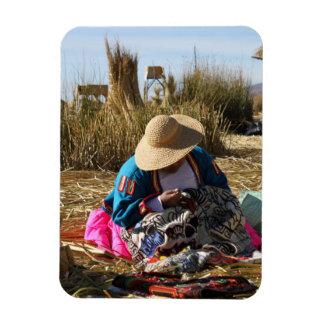 Bordado de costura de la mujer de Perú Imán Rectangular