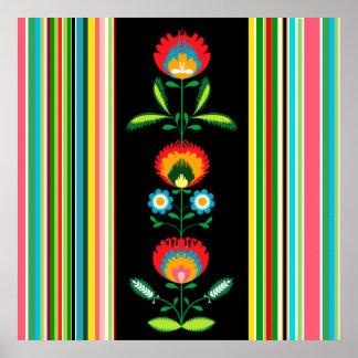 Bordado de flores polaco, poster póster