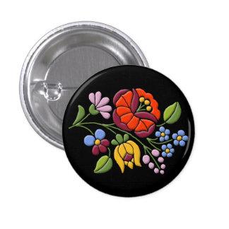 Bordado de Kalocsa - negro húngaro BG del arte pop Pin Redondo De 1 Pulgada