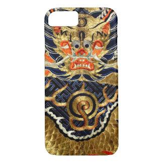 Bordado de seda chino del dragón funda iPhone 7