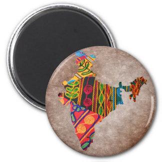 Bordado del indio del mapa de la India Imán Redondo 5 Cm