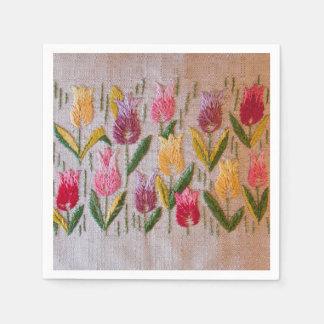 Bordado del vintage de los tulipanes servilleta de papel