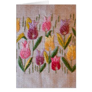 Bordado del vintage de los tulipanes tarjeta de felicitación