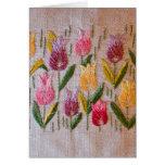 Bordado del vintage de los tulipanes tarjetas