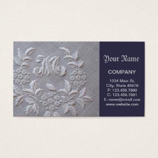 Bordado elegante floral tarjeta de negocios