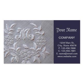 Bordado elegante floral tarjetas de visita