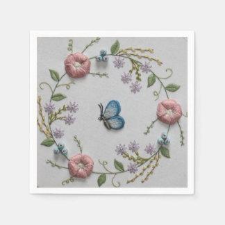 Bordado floral y mariposa servilleta desechable